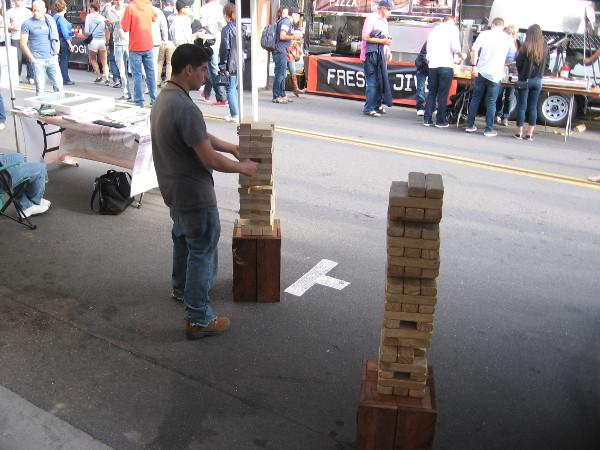 Nobody was playing giant Jenga when I happened to pass by.