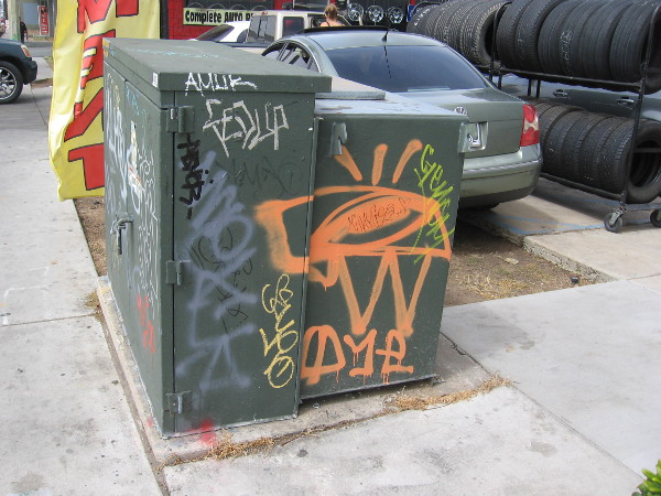 Hastily scrawled graffiti is more common on the electrical boxes in this gritty section of Chula Vista.