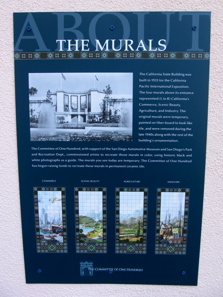 Sign near entrance to the San Diego Automotive Museum explains the murals.