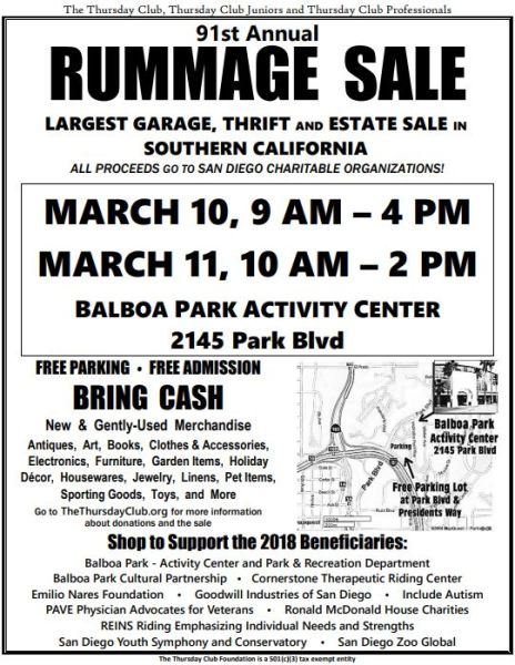 Flyer contains details of The Thursday Club's 2018 Rummage Sale in Balboa Park.