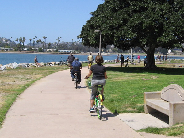 Biking north along the east side of Mission Bay, heading toward De Anza Cove.