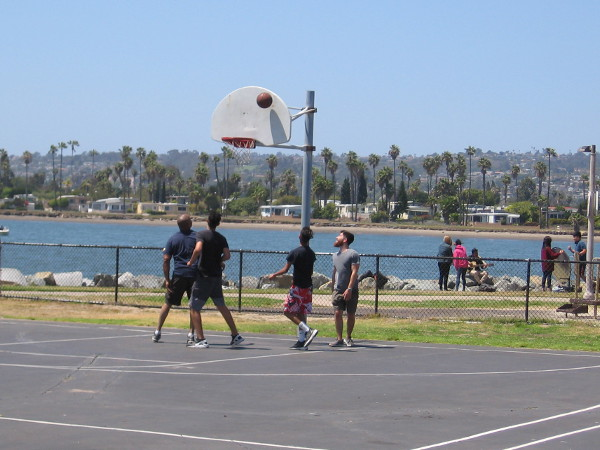Shooting hoops with friends.