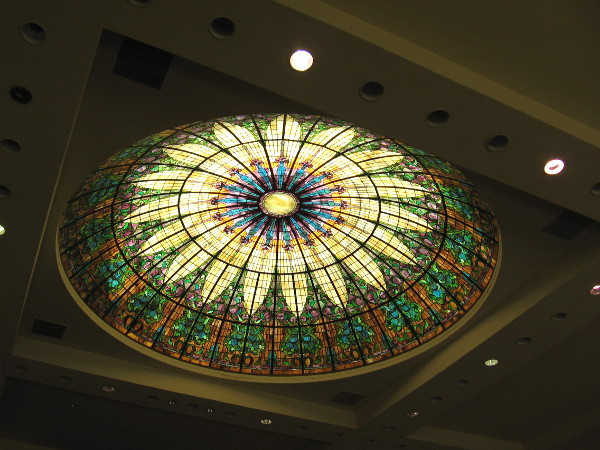 The amazing stained glass dome above the church sanctuary.