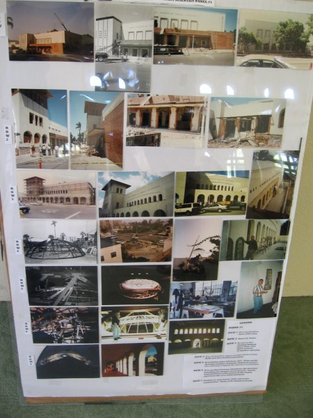 A large poster containing photographs of the building's 1950's appearance and historic restoration. (Click image to enlarge.)