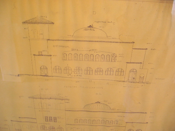 I was told these are some of the original Irving Gill blueprints. The are displayed with other documents and historical photos in a hallway near the church sanctuary.