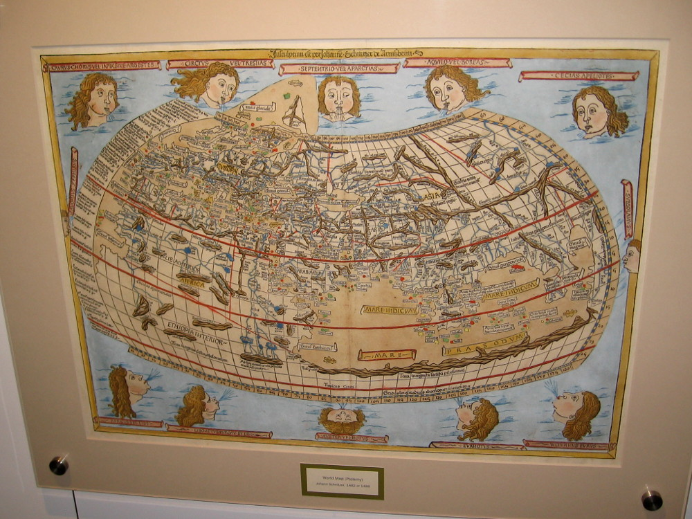 world map ptolemy johann schnitzer 1482 or 1486