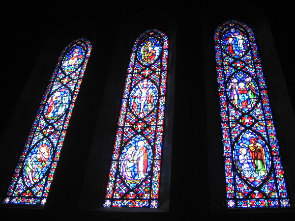 More resplendent stained glass, like celestial visions shining through darkness.