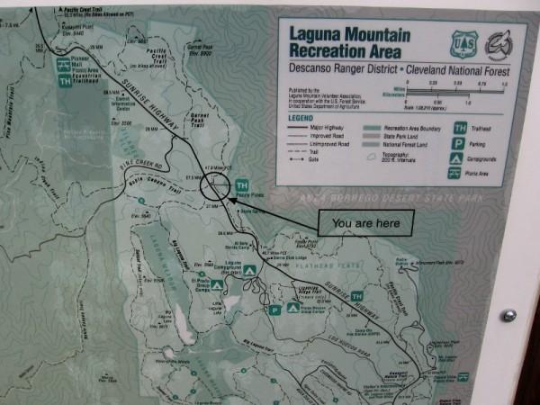 Part of a posted Map of Laguna Mountain Recreation Area. Big Laguna Lake forms during rainy season in Laguna Meadow.