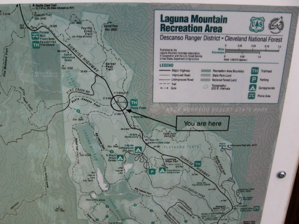 Part of a posted Map of Laguna Mountain Recreation Area. Big Laguna Lake forms during rainy season in Laguna Meadow.