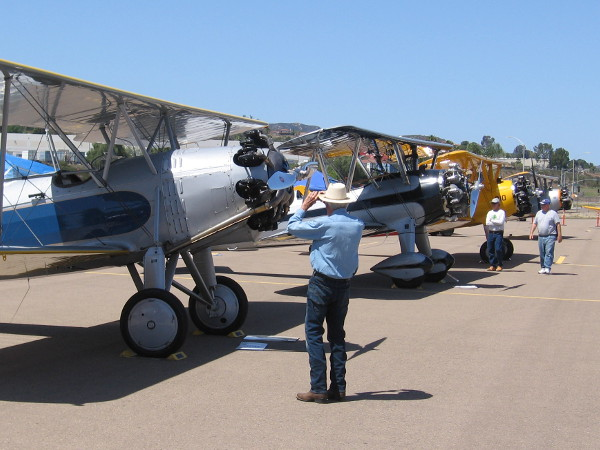 Checking out a row of shiny restored aircraft from the World War II era.