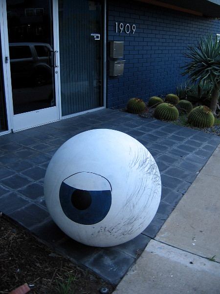 A big eyeball near the entrance of the Landscape Architecture business Environs.