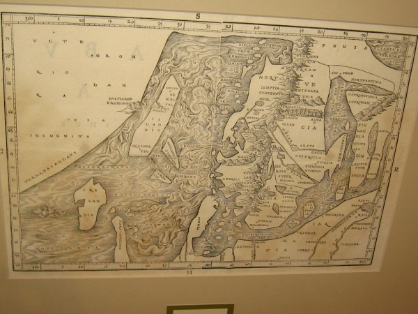 North Atlantic, Jacob Ziegler, 1532. Information for this map was obtained from two Archbishops in Rome. Newfoundland is Terra Bacallaos, or land of codfish.