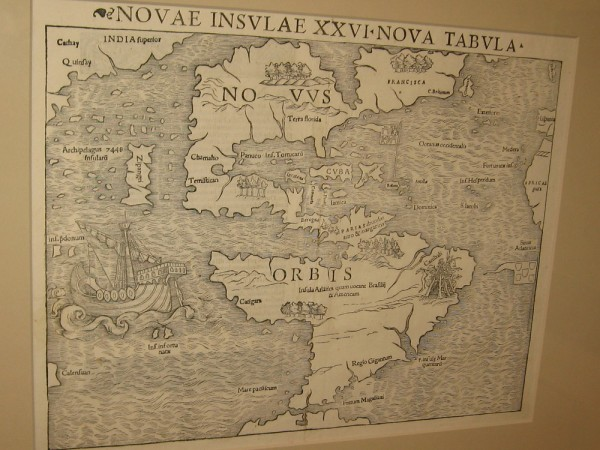 America, Sebastian Munster, Basle, 1540. This depiction of North America came from reports by explorer Giovanni da Verrazano.