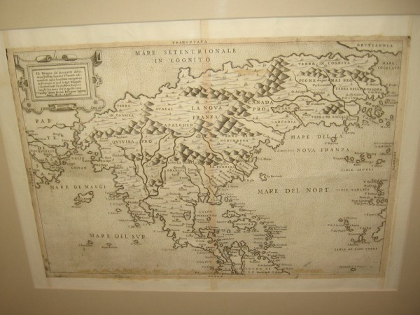 North America, Paolo Forlani, 1565. A map that shows America and Asia separated with a strait.