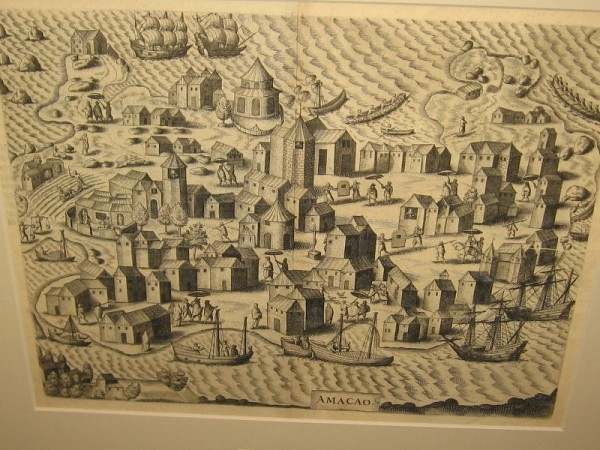 View of Macao, Theodore de Bry, 1607. A stylized map, the first published image of Macao.