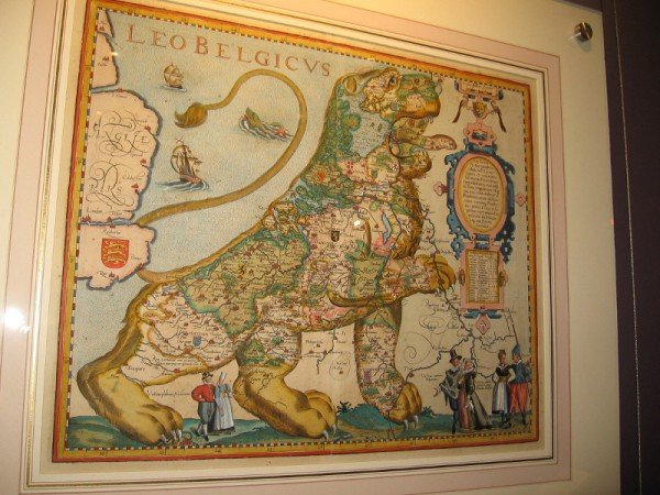 The Low Countries in the Form of a Lion, Petrus Kaerius, 1617. A map of the Netherlands and Belgium.