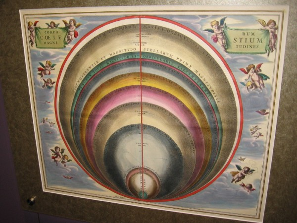 The Sizes of the Celestial Bodies, Andreas Cellarius, 1660. The heavenly bodies compared with Earth, according to Ptolemy.