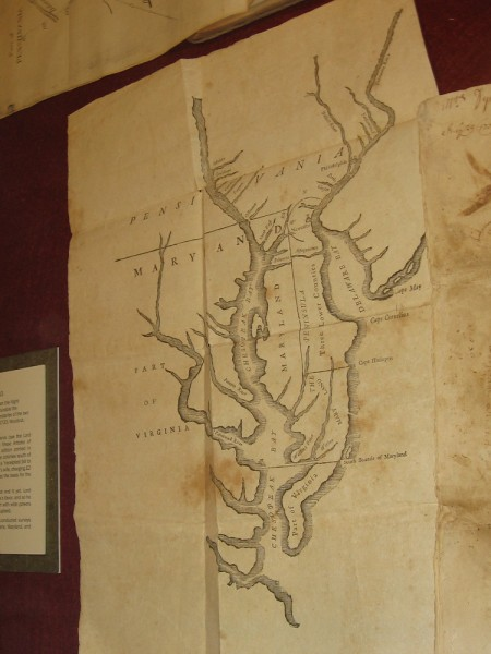 Chesapeake and Delaware Bays, Benjamin Franklin, 1733. Franklin likely cut the woodblock himself. The map shows the newly delineated boundaries of Maryland and Pennsylvania.