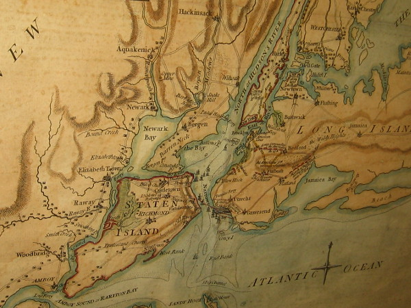 Battle of Long Island, Samuel Holland, 1776. A section of a map that shows the plan of the first major battle in the American Revolution.