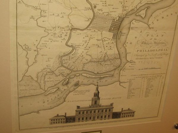 Philadelphia, William Faden, 1777. Lower half of the map includes copy of the earliest known printed image of Independence Hall.