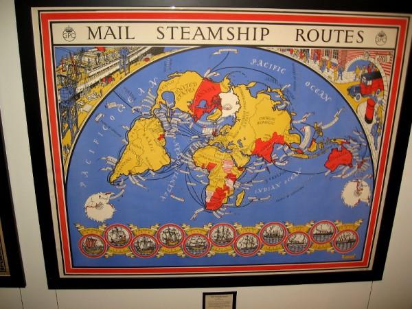 Mail Steamship Routes, MacDonald Gill, 1937.