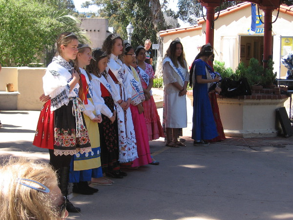2018's youthful House of Pacific Relations queens line the stage during a program at the International Cottages.