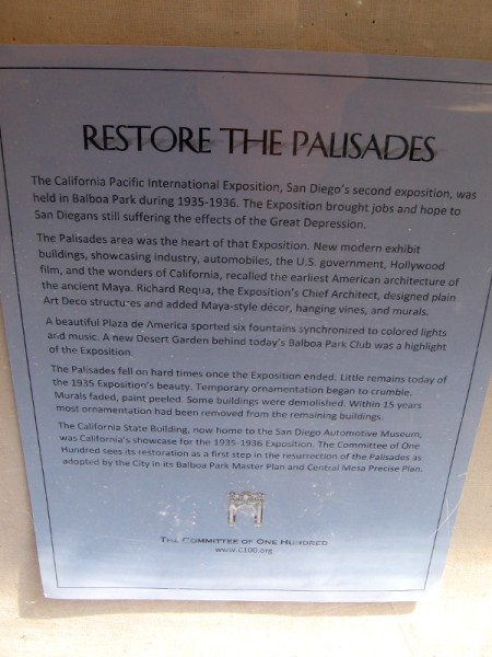 I'm a big supporter of restoring the Palisades section of Balboa Park. Learn more at the Committee of One Hundred's c100.org website.