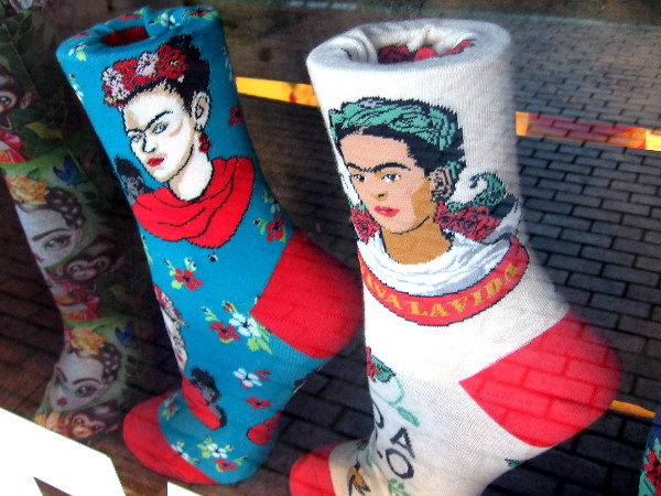 Frida Kahlo socks in the window of Find Your Feet.