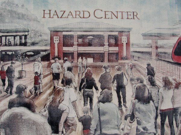 A mural on the south side of Hazard Center shows people flocking to the mall.