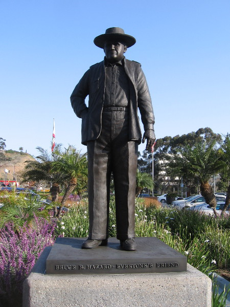 Bronze sculpture at Hazard Center of Bruce R. Hazard - Everyone's Friend. For almost a century R.E. Hazard Contracting Company has built many of San Diego's freeway, road, commercial and subdivision projects.