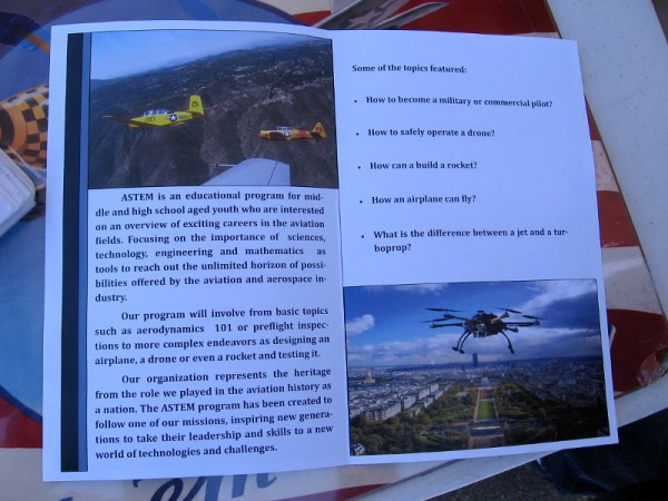 Flyer describes an exciting ASTEM educational program offered by Air Group One.