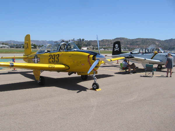 Several restored Beechcraft T-34 Mentor aircraft were out on the Gillespie Field tarmac. These planes served as versatile military trainers after World War II.