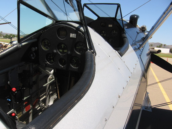 Looking into the rear cockpit of Steve McQueen's old Stearman PT-17.