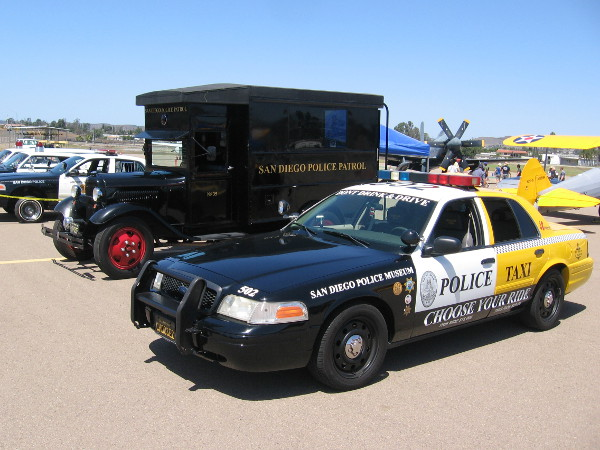 Other vehicles at the event included an old San Diego Police paddy wagon and a unique patrol car and taxi combo that discourages drinking and driving.