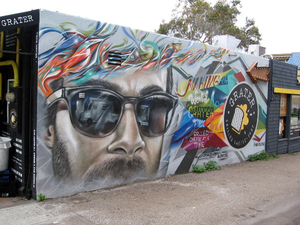 A very cool mural in the alley next to the Grater grilled cheese shop in La Jolla.