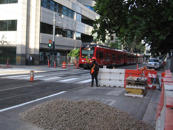 Here comes a trolley, approaching the new Courthouse station that is presently under construction.