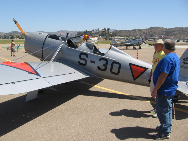 Checking out a Ryan STM-2 manufactured in San Diego in 1940. It now belongs to the Allen Airways Flying Museum at Gillespie Field.