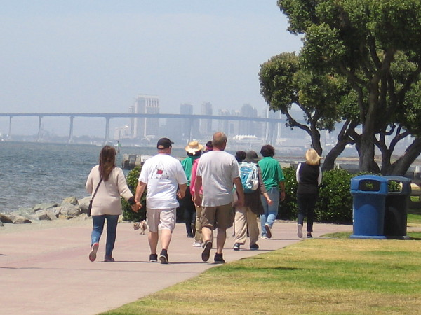 Downtown San Diego and the Coronado Bay Bridge are in the hazy distance.