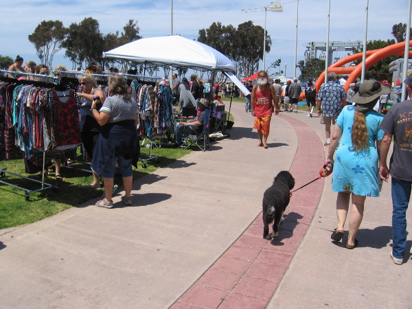 Continuing through the festival. One vendor had unique clothing for sale. Another perfect San Diego day.