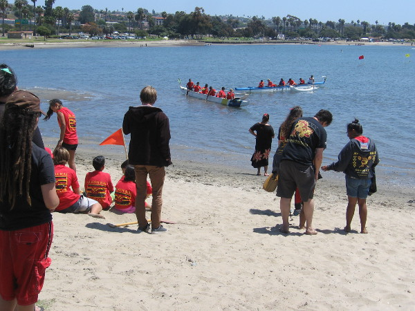 Canoes head out into Mission Bay during the 5th Annual San Diego Shaka Fest, a celebration of Hawaiian culture, arts, and athletics.