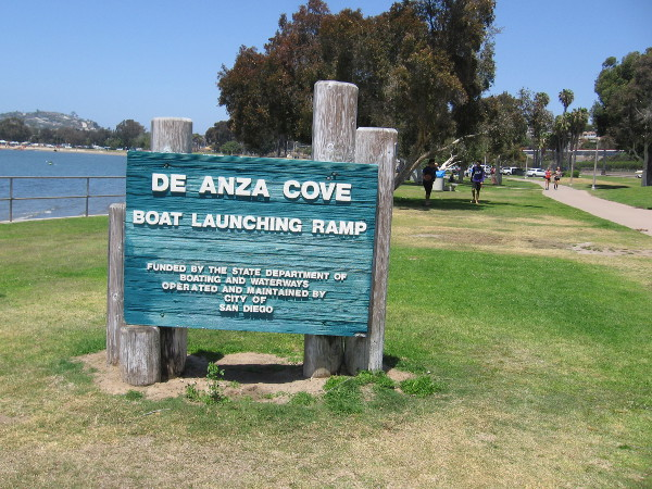 Walking past the De Anza Cove boat launching ramp.