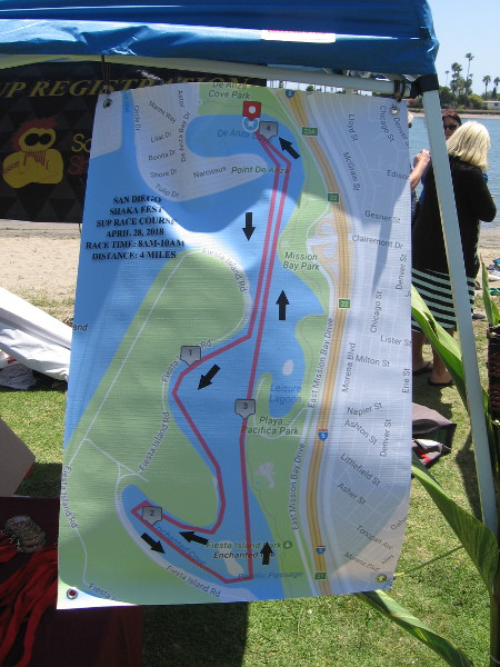 The SUP Race Course in Mission Bay heads down to Fiesta Island.