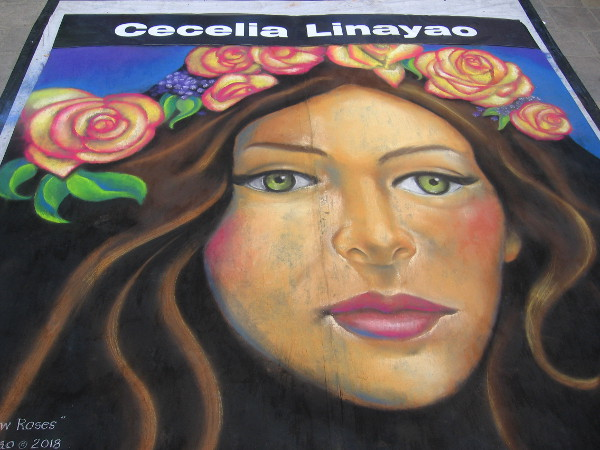 Gold and Yellow Roses, chalk art by Cecelia Linayao.