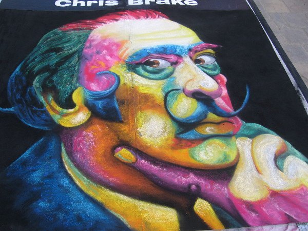 A colorful chalk art Salvador Dalí, by artist Chris Brake.