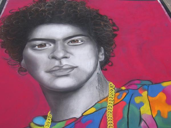 A striking chalk art face by Meg Canilang.