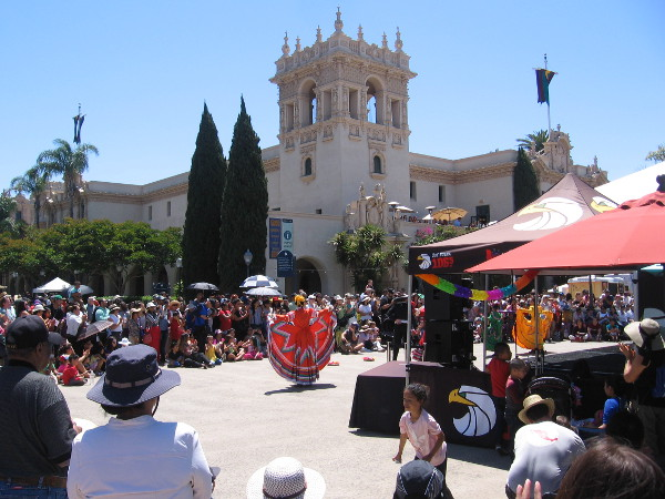 Ballet folklorico dancers with the community group La Fiesta Danzantes de San Diego entertain a crowd in Balboa Park during Cinco de Mayo.