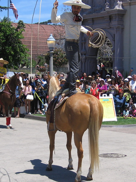 Performing more amazing rope tricks up on the back of his horse!