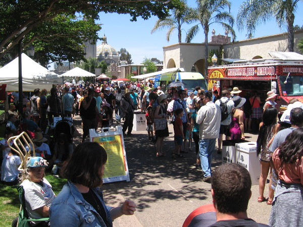 Many food trucks were lining El Prado!