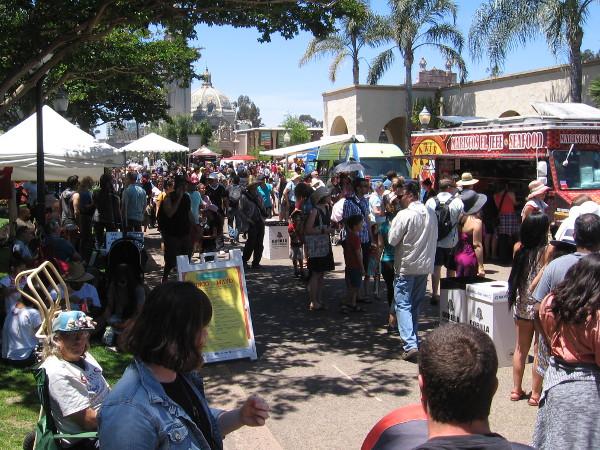 Many food trucks were lining El Prado!