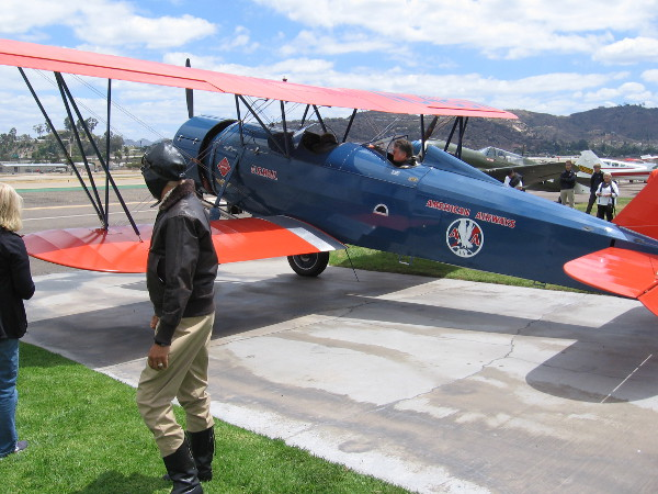 A vintage biplane is almost ready to embark on an historic flight.